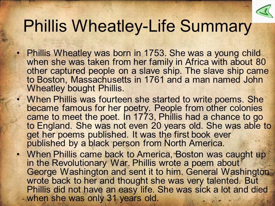 Phillis Wheatley-Life Summary