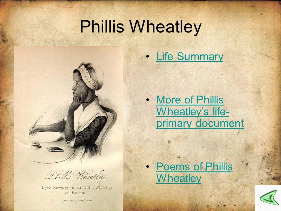 Phillis Wheatley Life Summary