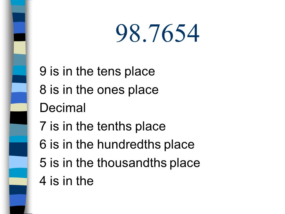 98.7654 9 is in the tens place 8 is in the ones place Decimal