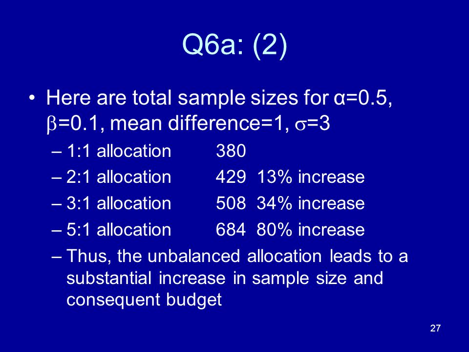 Q6a: (2) Here are total sample sizes for α=0.5, =0.1, mean difference=1, =3. 1:1 allocation 380.