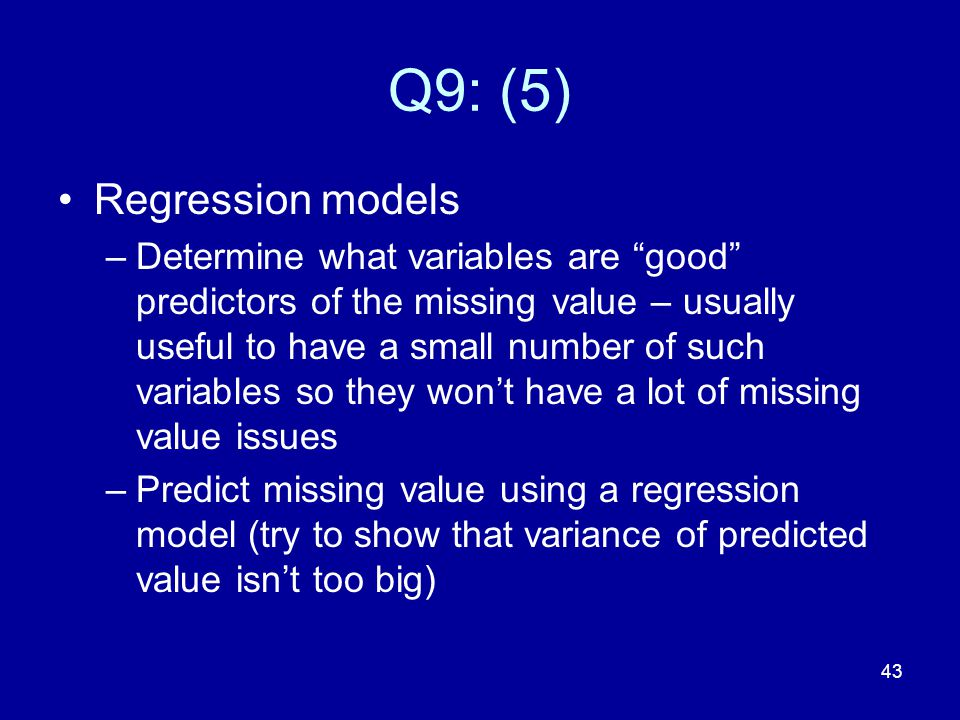 Q9: (5) Regression models