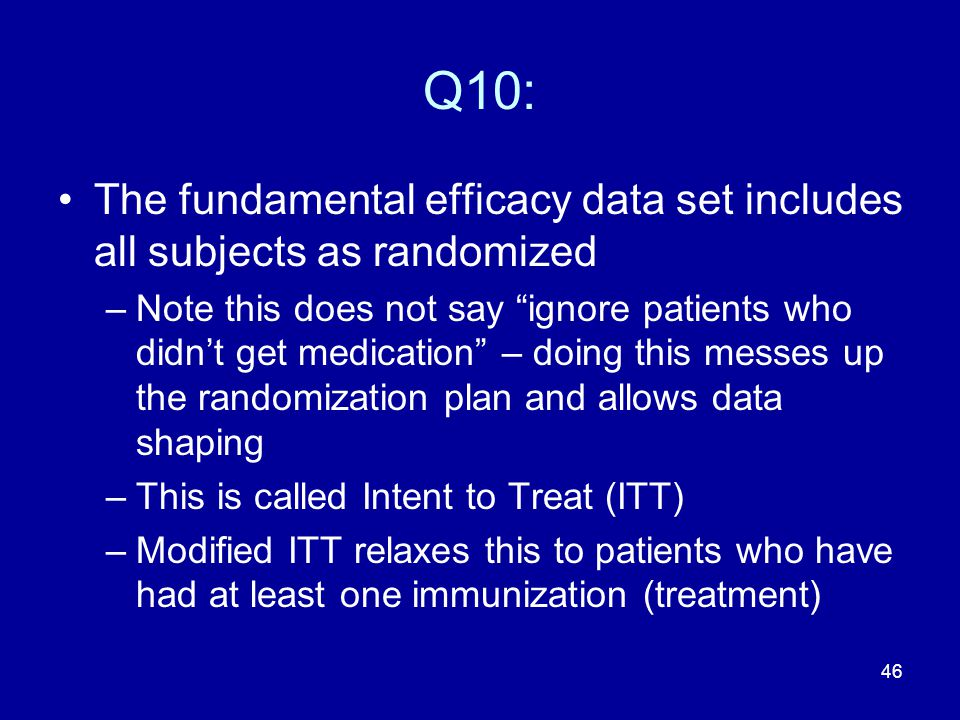 Q10: The fundamental efficacy data set includes all subjects as randomized.