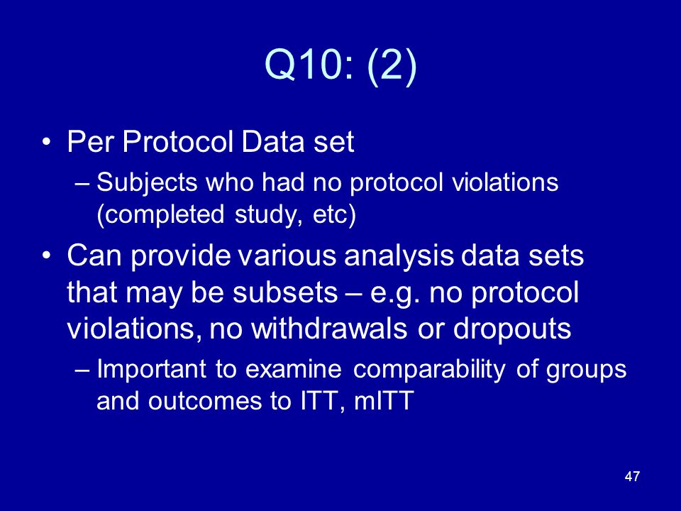 Q10: (2) Per Protocol Data set