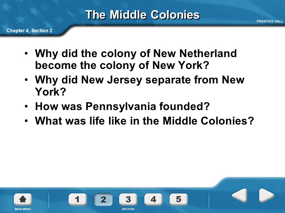 The Middle Colonies Chapter 4, Section 2. Why did the colony of New Netherland become the colony of New York