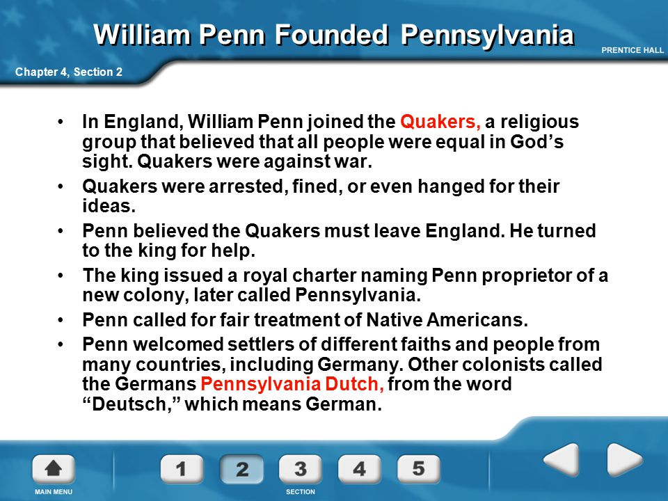 William Penn Founded Pennsylvania