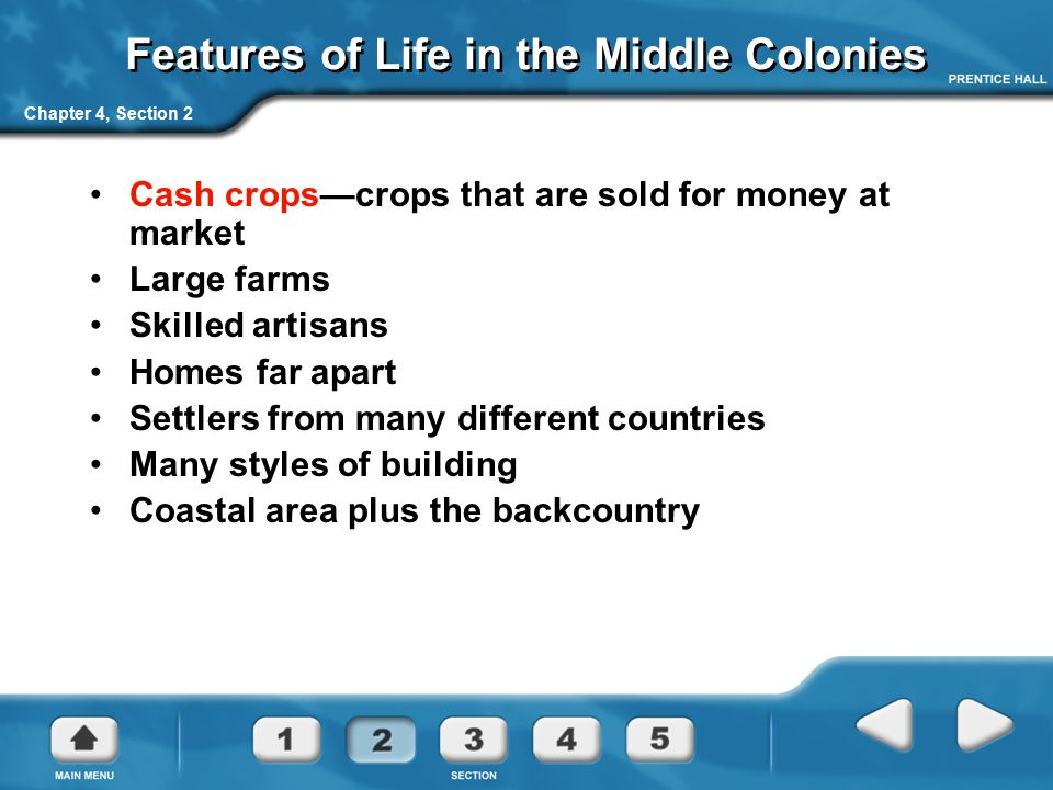 Features of Life in the Middle Colonies