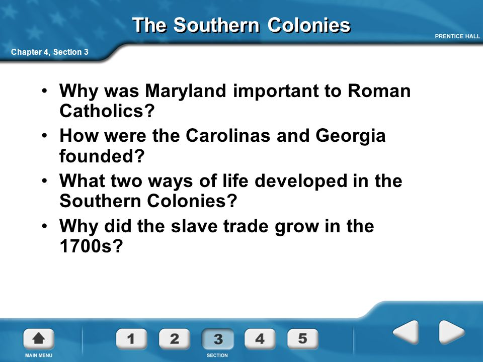 The Southern Colonies Why was Maryland important to Roman Catholics