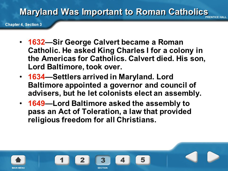 Maryland Was Important to Roman Catholics