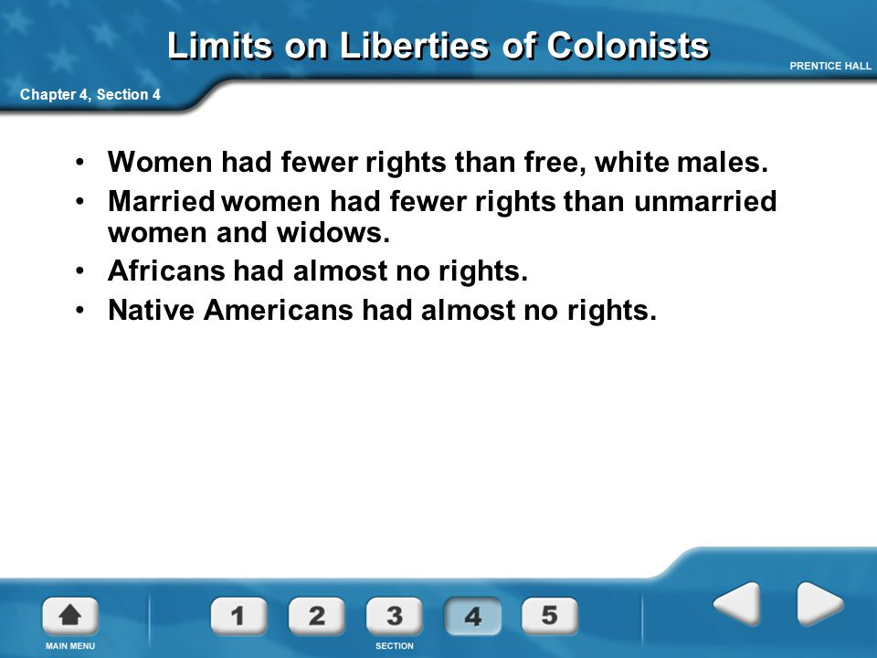 Limits on Liberties of Colonists