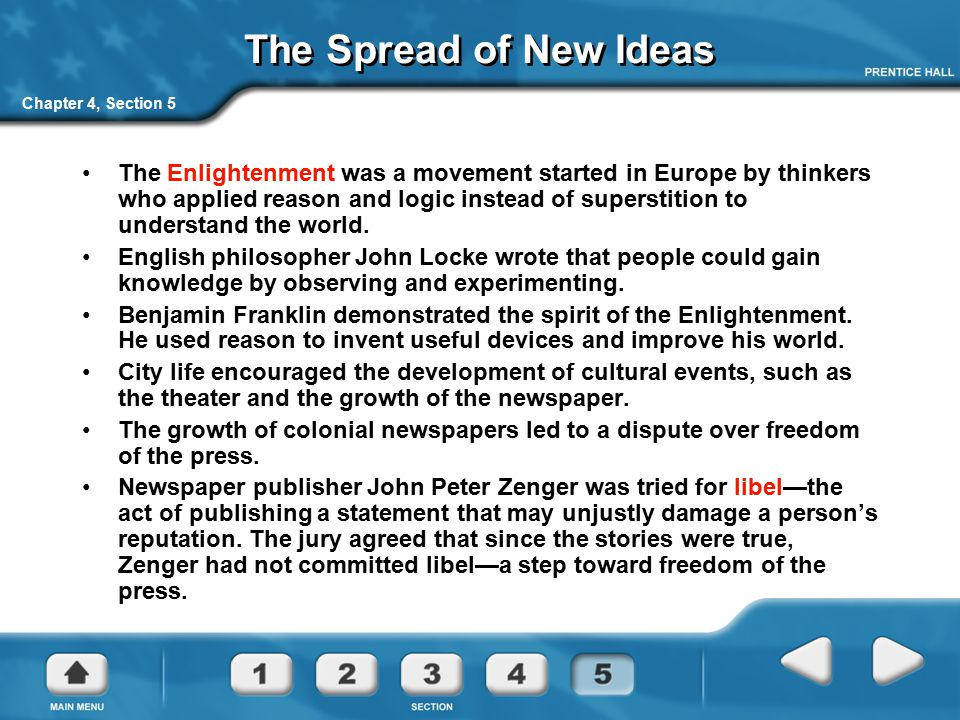 The Spread of New Ideas Chapter 4, Section 5.