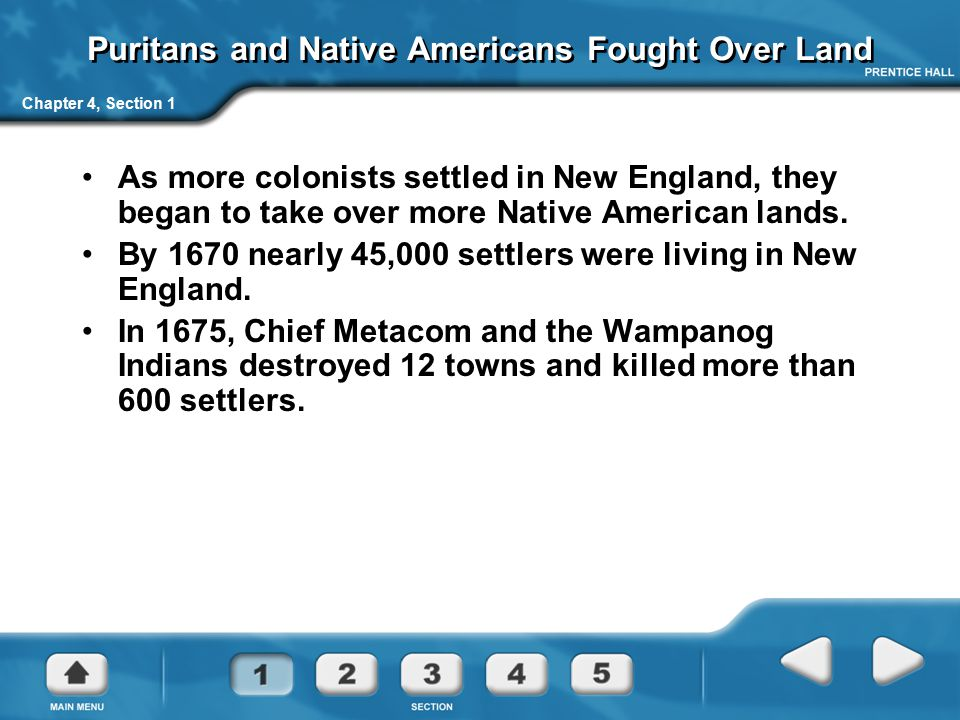 Puritans and Native Americans Fought Over Land