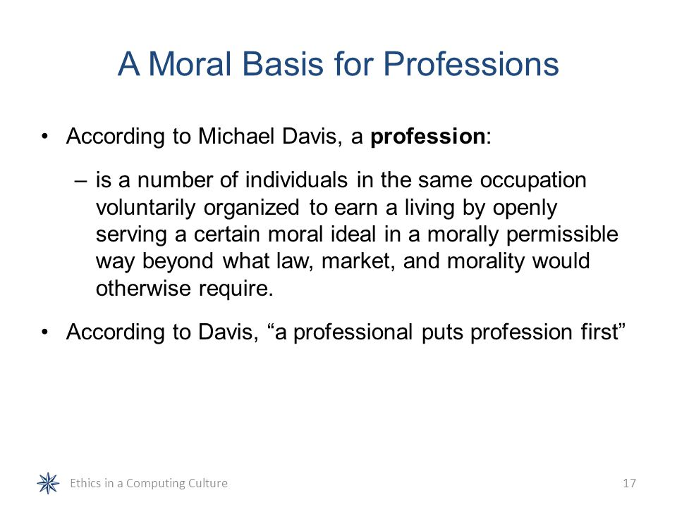 A Moral Basis for Professions