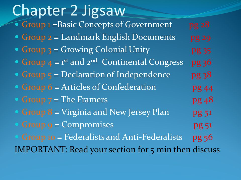 Chapter 2 Jigsaw Group 1 =Basic Concepts of Government pg 28