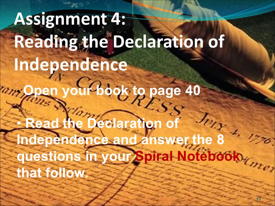 Assignment 4: Reading the Declaration of Independence