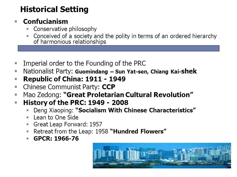 Historical Setting Confucianism