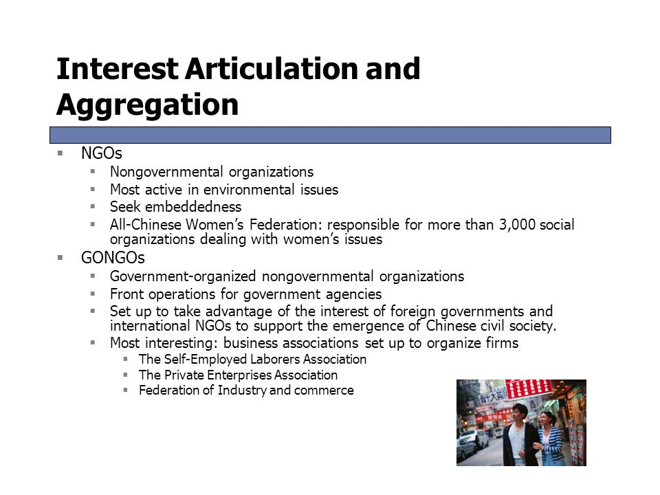 Interest Articulation and Aggregation