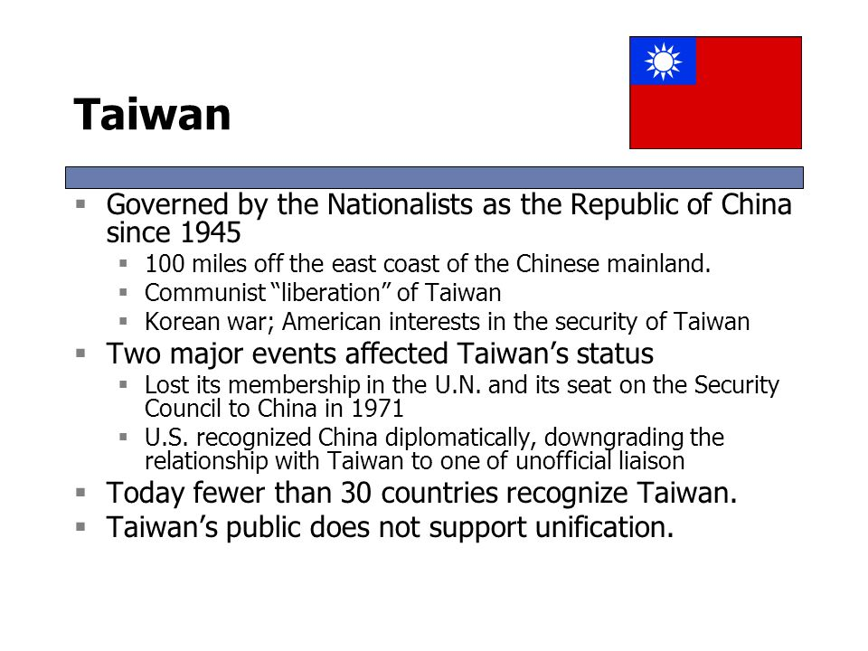 Taiwan Governed by the Nationalists as the Republic of China since 1945. 100 miles off the east coast of the Chinese mainland.