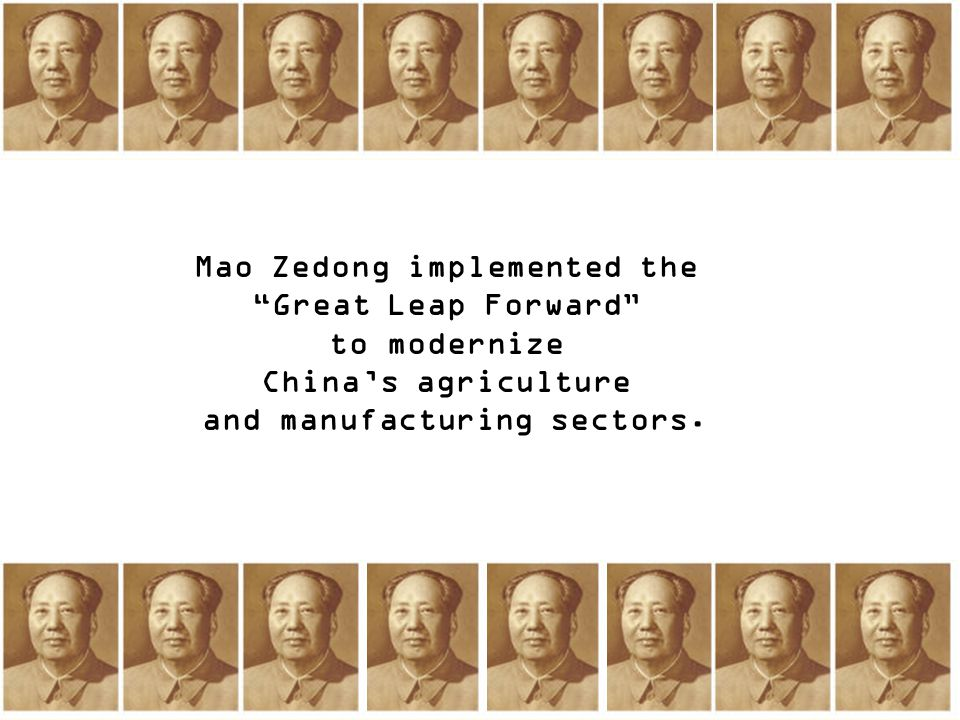 Mao Zedong implemented the and manufacturing sectors.