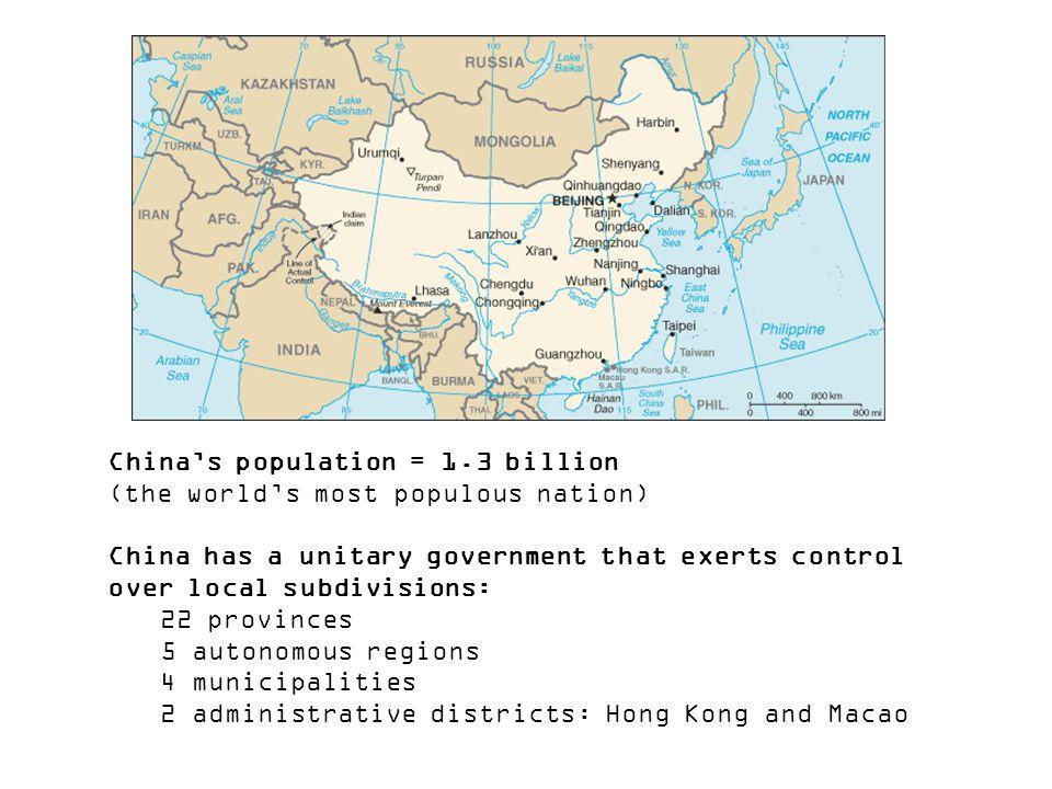 China's population = 1.3 billion