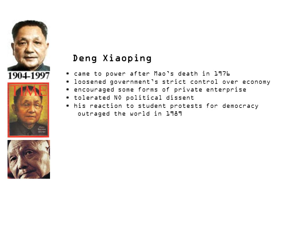 Deng Xiaoping came to power after Mao's death in 1976