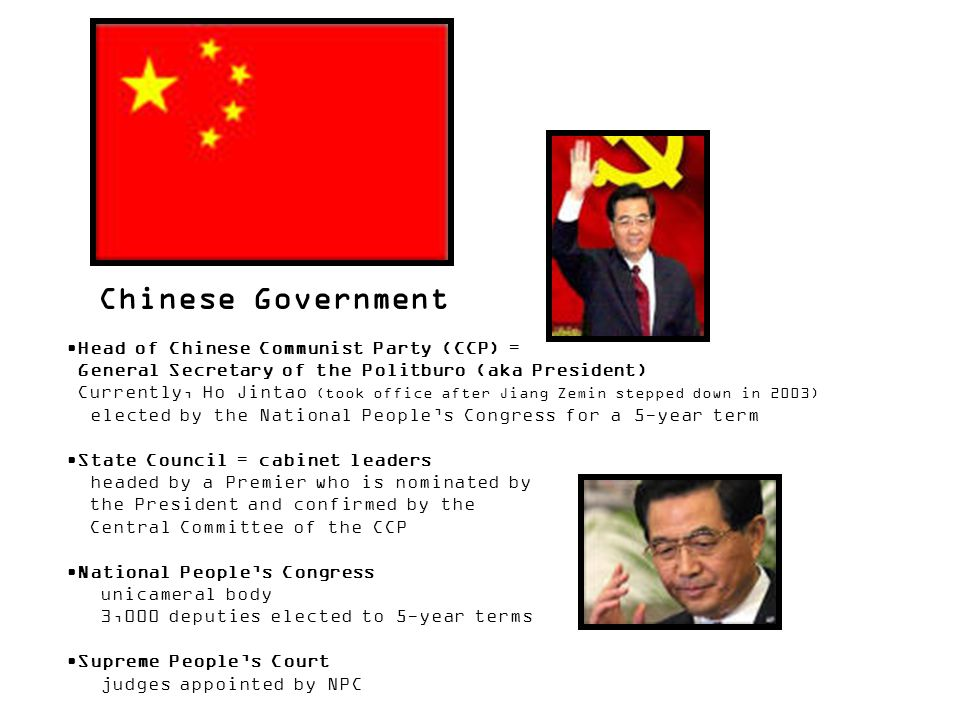 Chinese Government Head of Chinese Communist Party (CCP) =