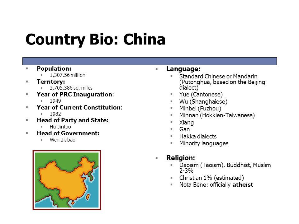 Country Bio: China Language: Religion: Population: Territory: