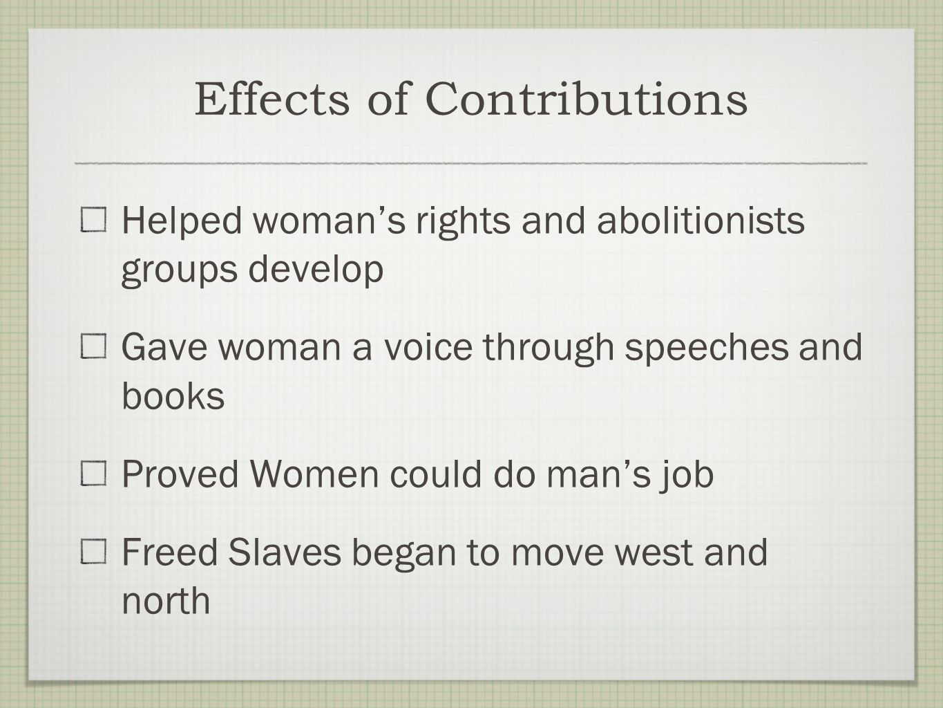 Effects of Contributions