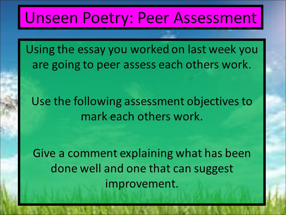 Unseen Poetry: Peer Assessment