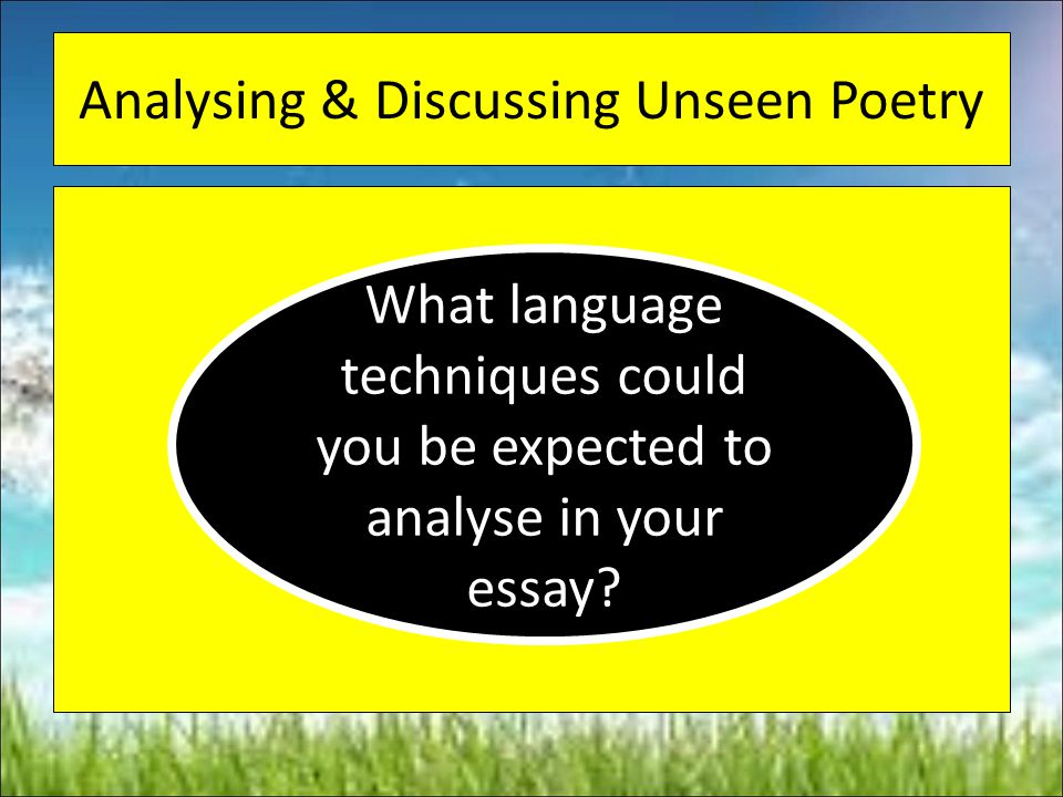 Analysing & Discussing Unseen Poetry
