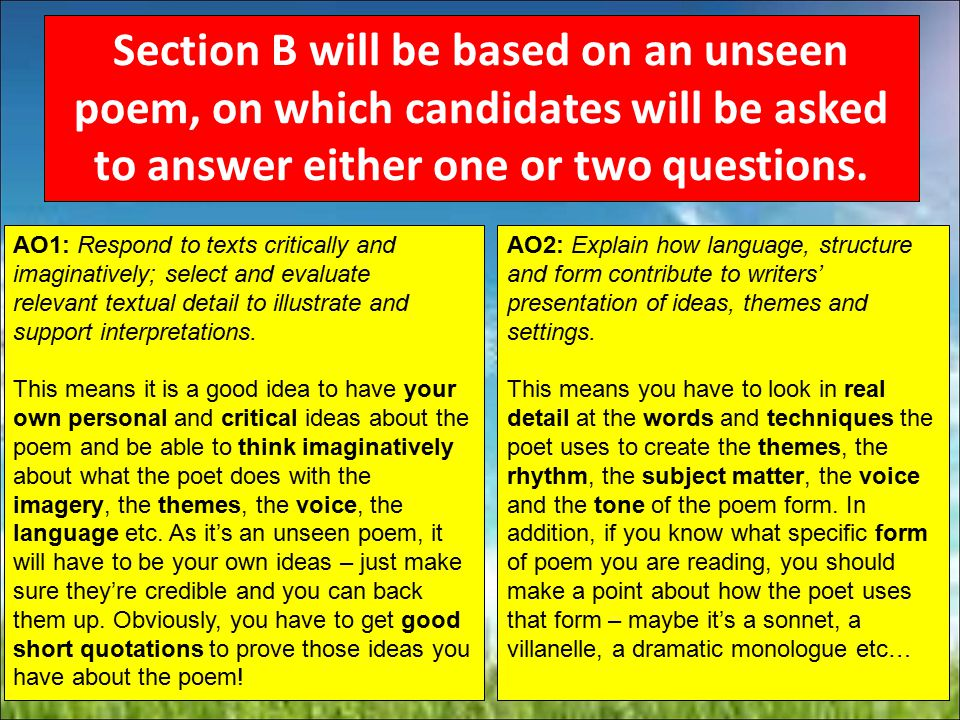 Section B will be based on an unseen poem, on which candidates will be asked to answer either one or two questions.