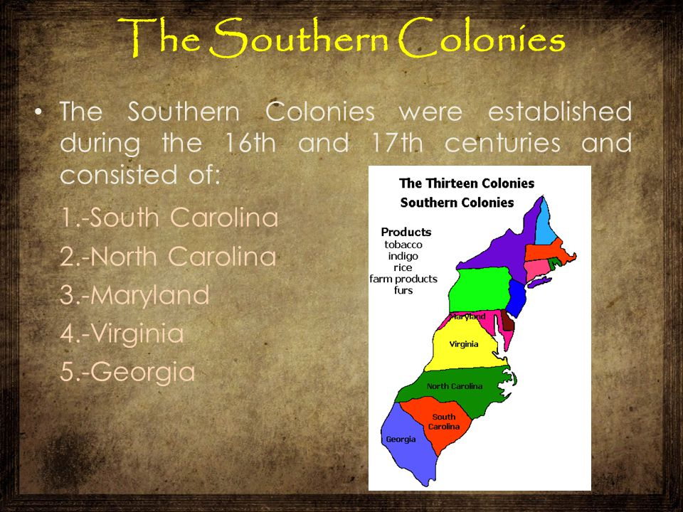The Southern Colonies 1.-South Carolina