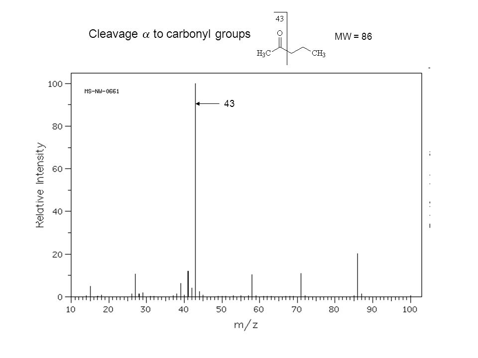 Cleavage  to carbonyl groups