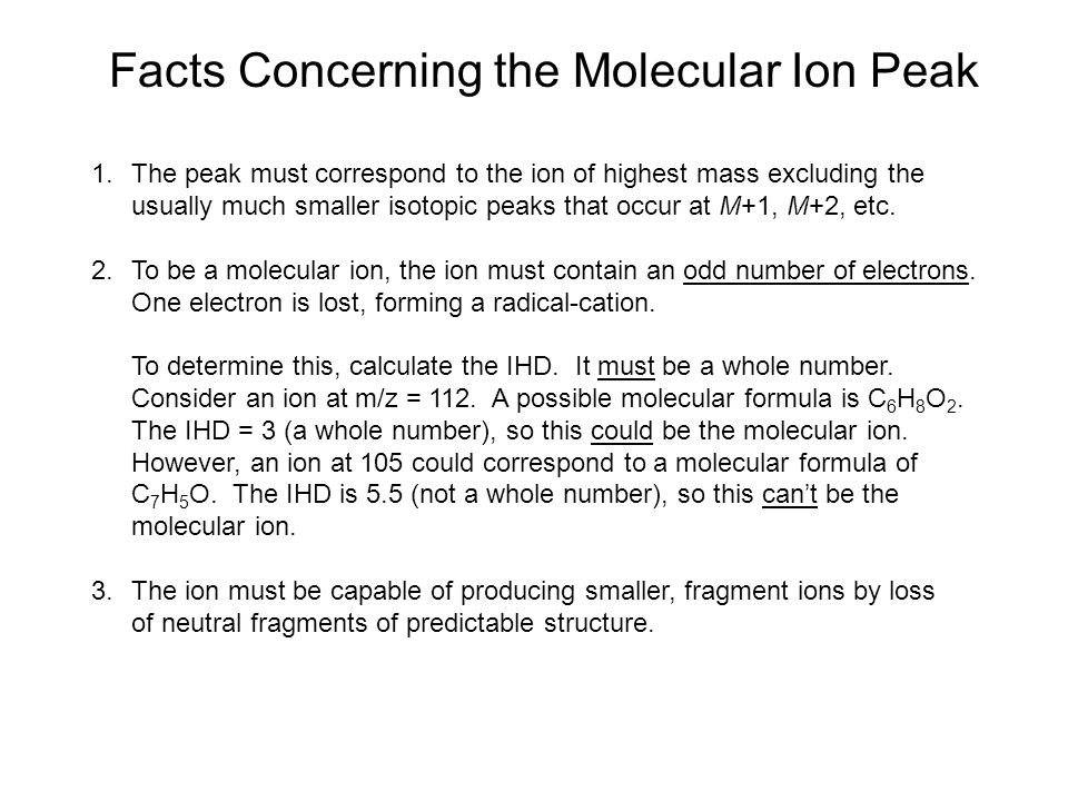 Facts Concerning the Molecular Ion Peak