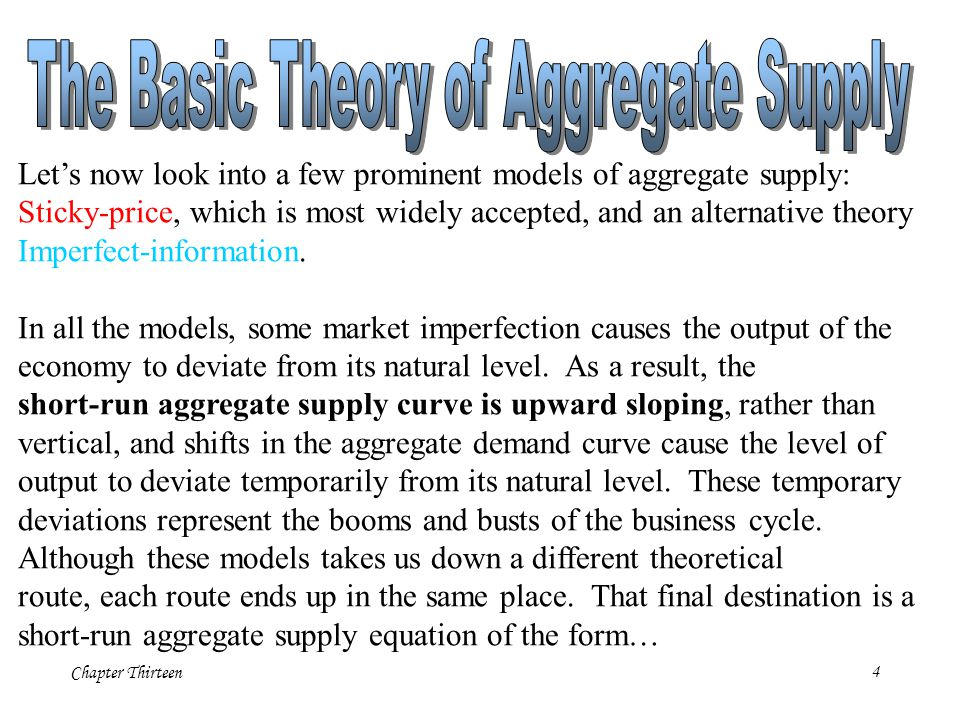 The Basic Theory of Aggregate Supply