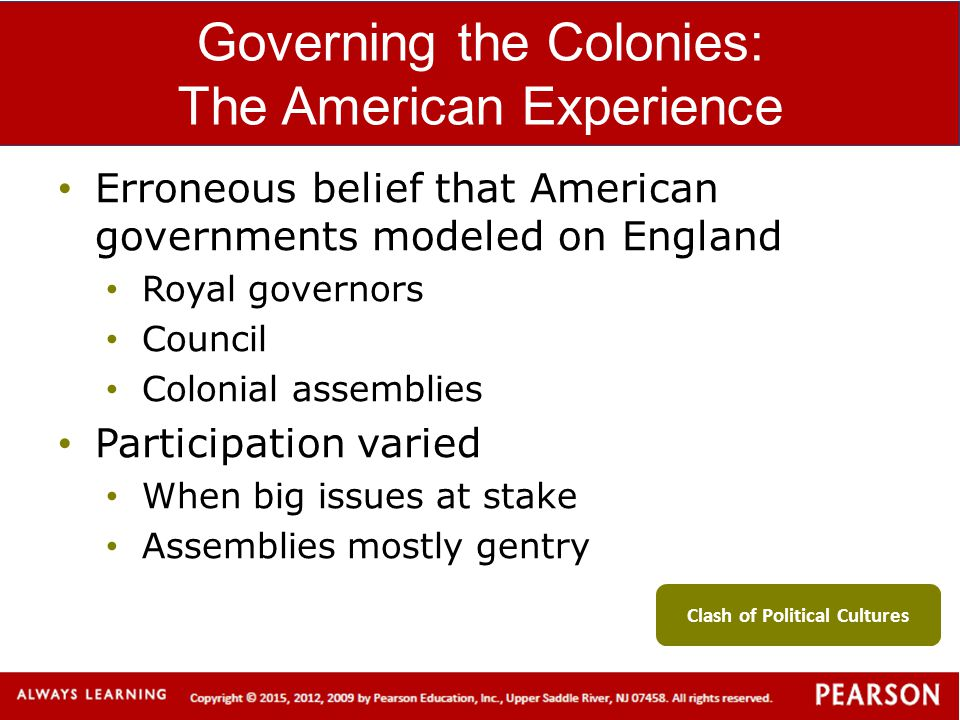 Governing the Colonies: The American Experience