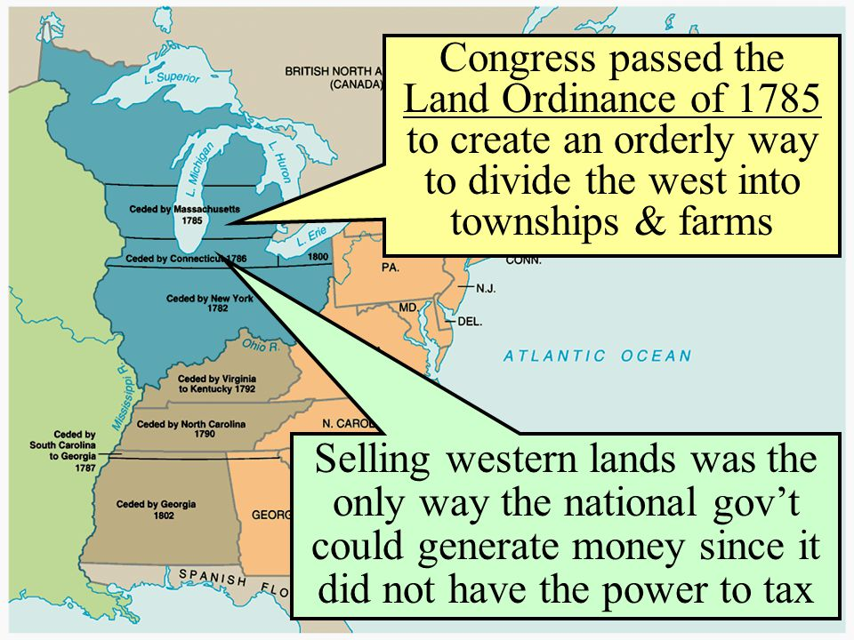 Congress passed the Land Ordinance of 1785 to create an orderly way to divide the west into townships & farms