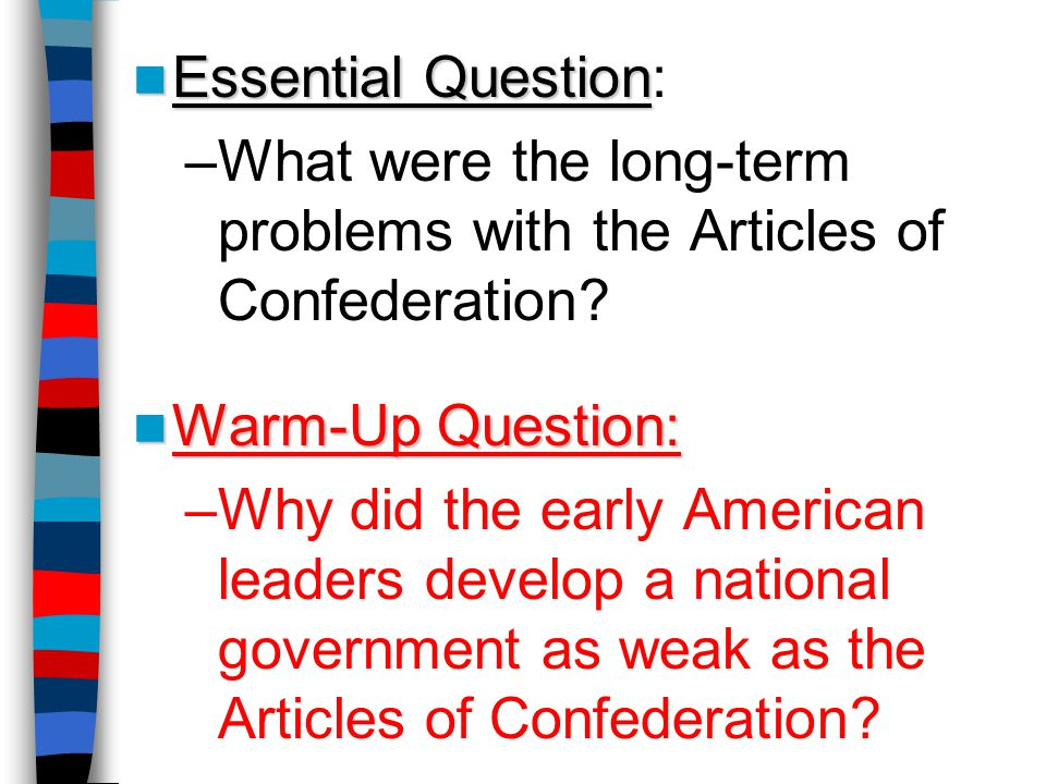 What were the long-term problems with the Articles of Confederation