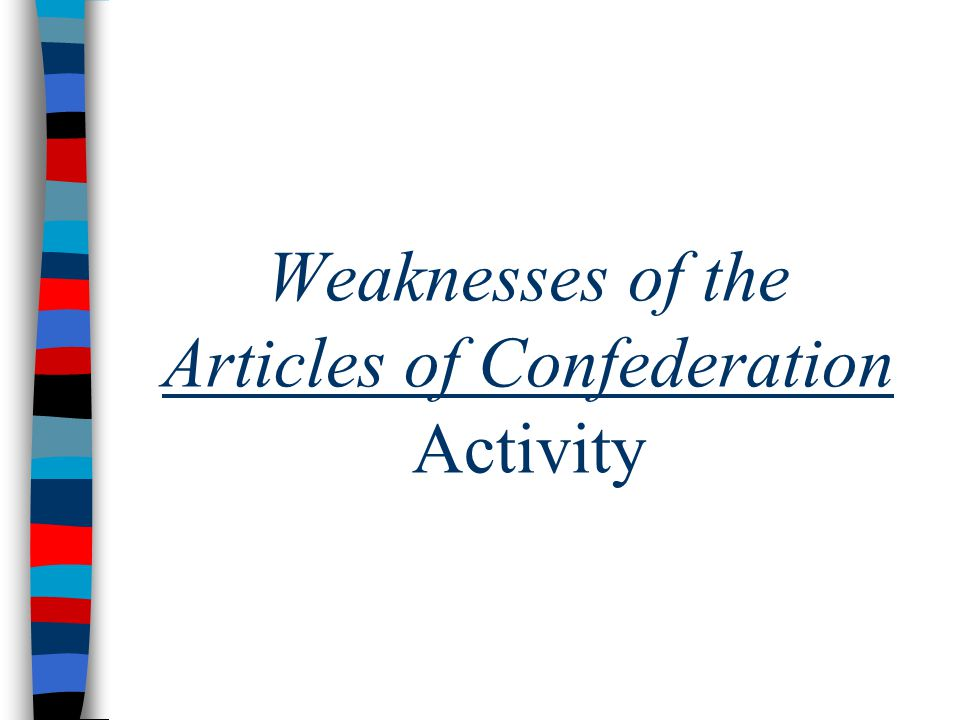 Weaknesses of the Articles of Confederation Activity