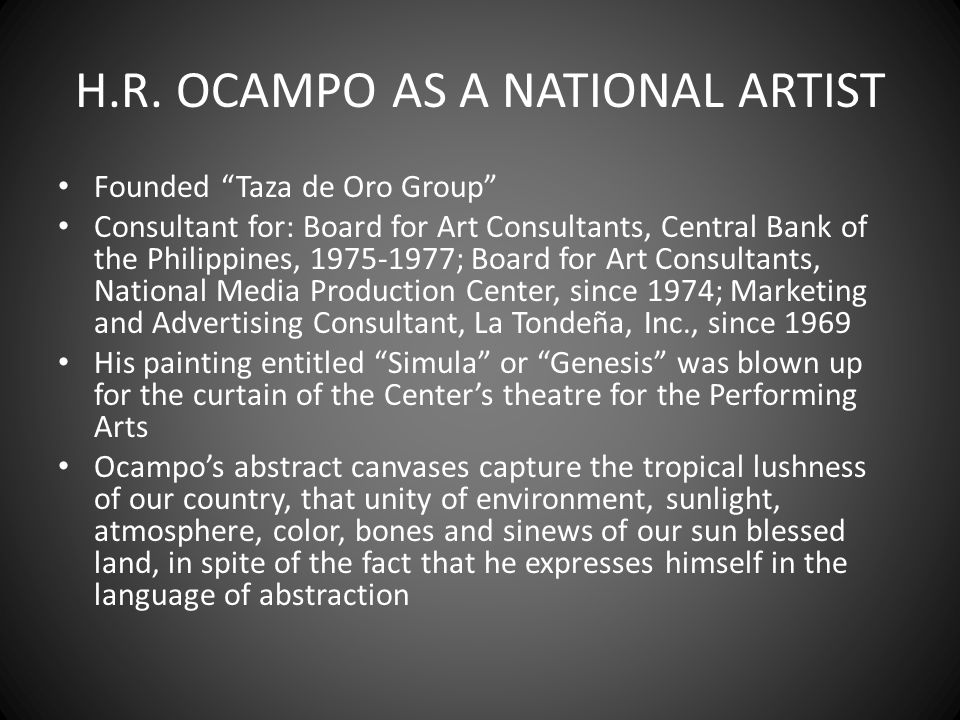 H.R. OCAMPO AS A NATIONAL ARTIST
