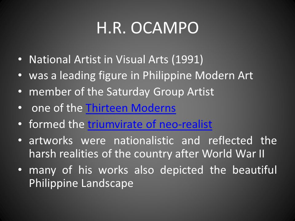 H.R. OCAMPO National Artist in Visual Arts (1991)