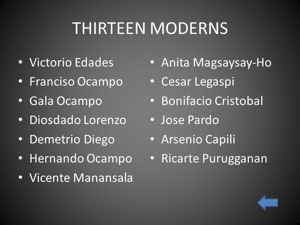 THIRTEEN MODERNS Victorio Edades Anita Magsaysay-Ho Franciso Ocampo