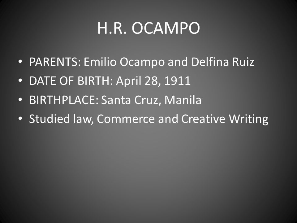 H.R. OCAMPO PARENTS: Emilio Ocampo and Delfina Ruiz