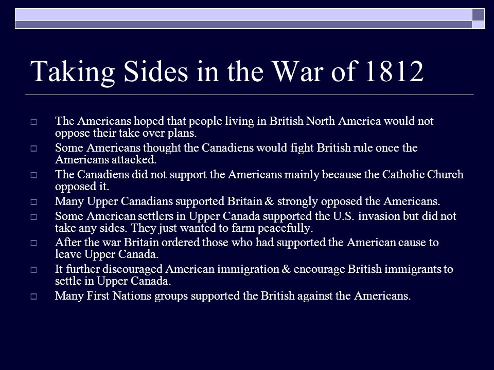 Taking Sides in the War of 1812