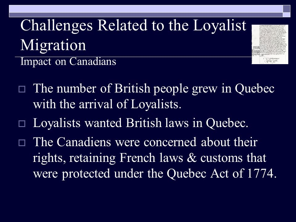Challenges Related to the Loyalist Migration Impact on Canadians