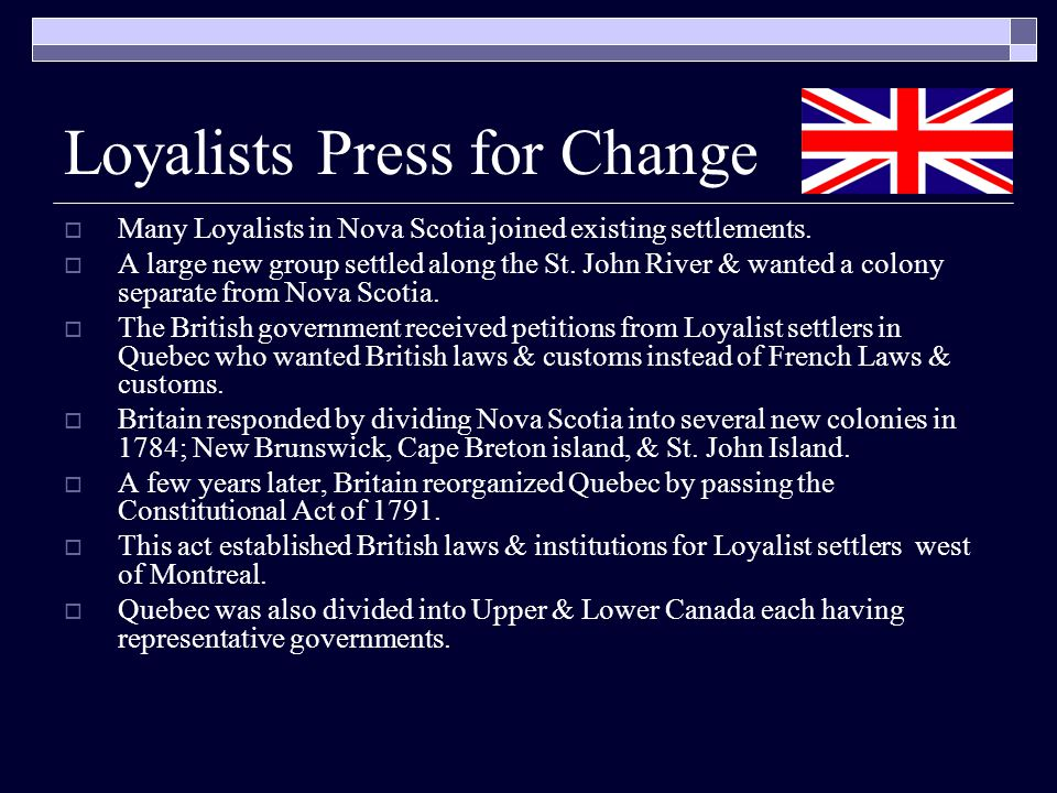 Loyalists Press for Change