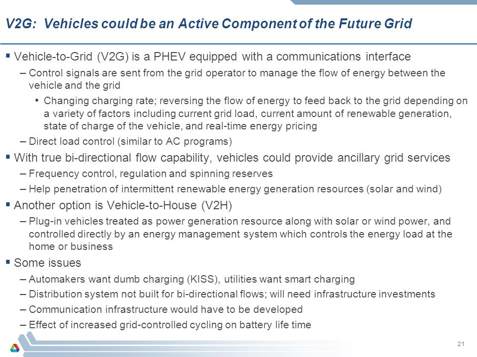 V2G: Vehicles could be an Active Component of the Future Grid