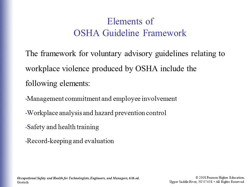 Elements of OSHA Guideline Framework