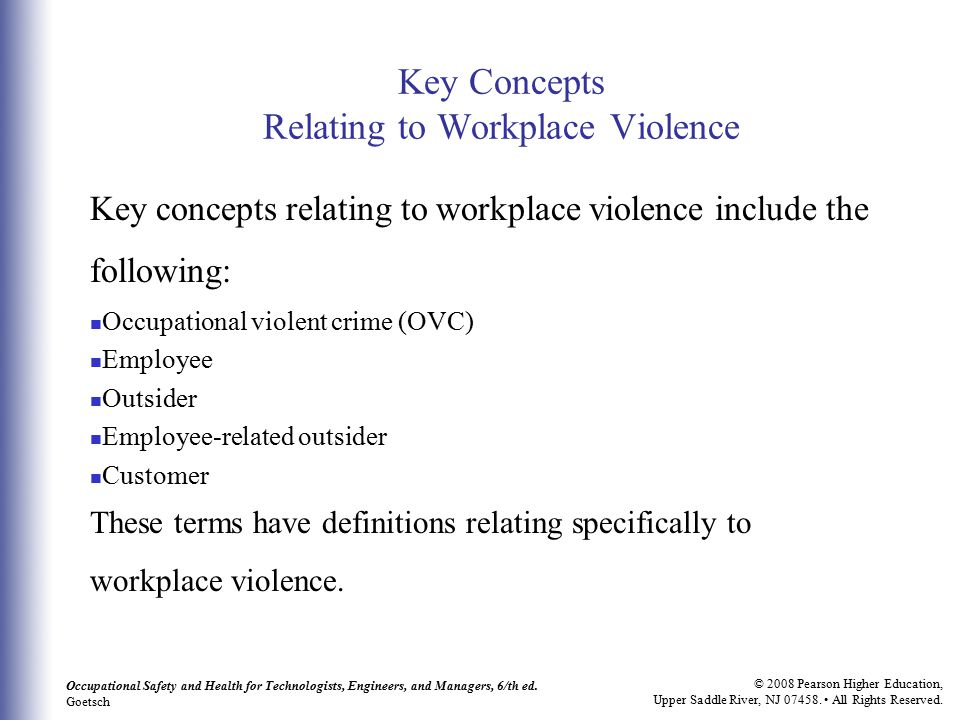 Key Concepts Relating to Workplace Violence