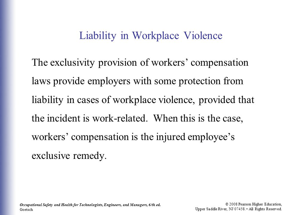Liability in Workplace Violence