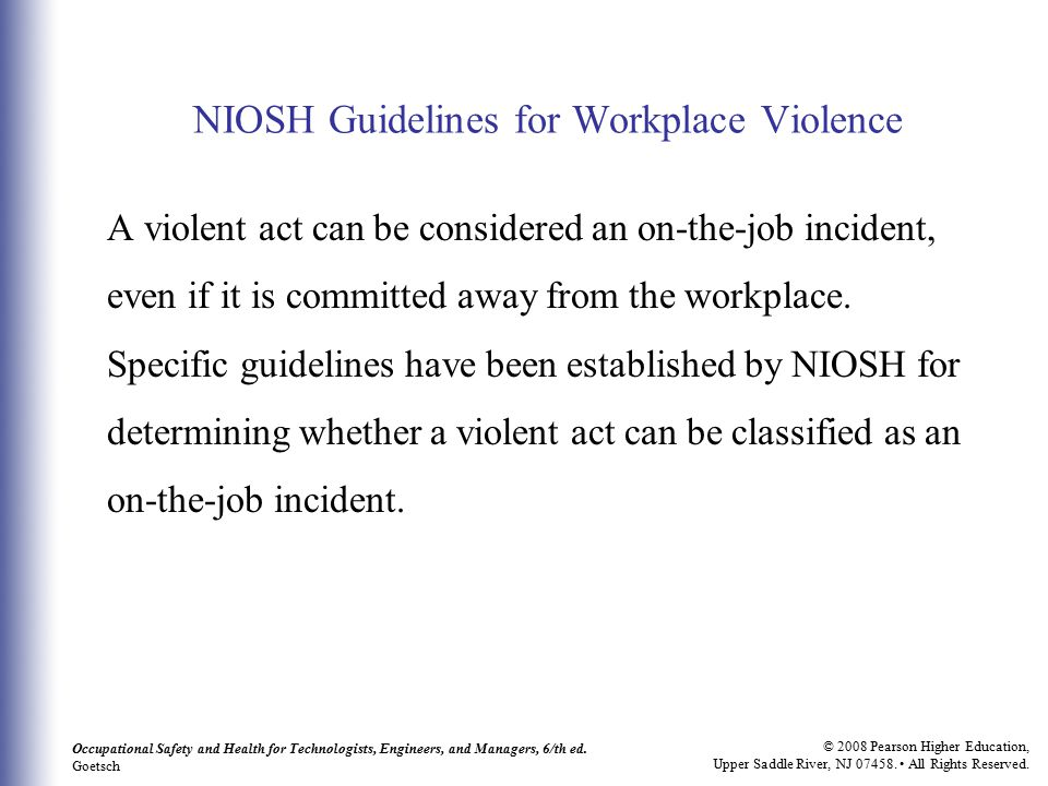 NIOSH Guidelines for Workplace Violence